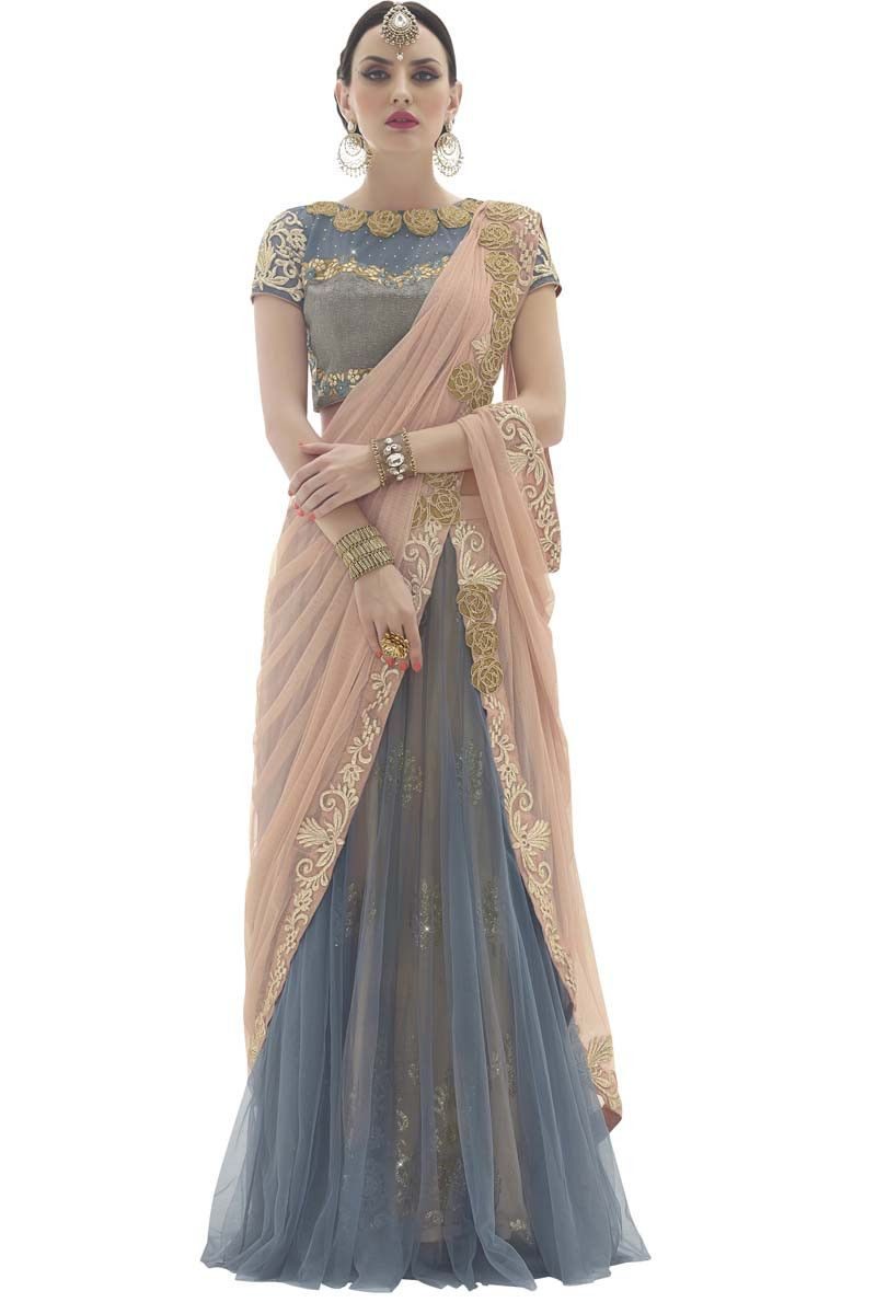 Silk saree lehenga beige net lehenga saree  lehenga saree on variation in  pinterest