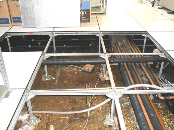 Flooded Data Center With Cables Running Under Raised Floor Shows Need For Flooding Sensor Low Cost Housing Data Center