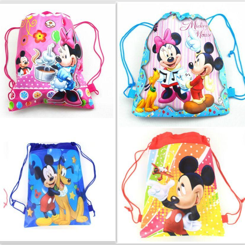 1 unids tela no tejida mochila Minnie mickey fuentes del partido del niño de viaje bolsa de bolsa de la escuela decoración mochila lazo de la historieta