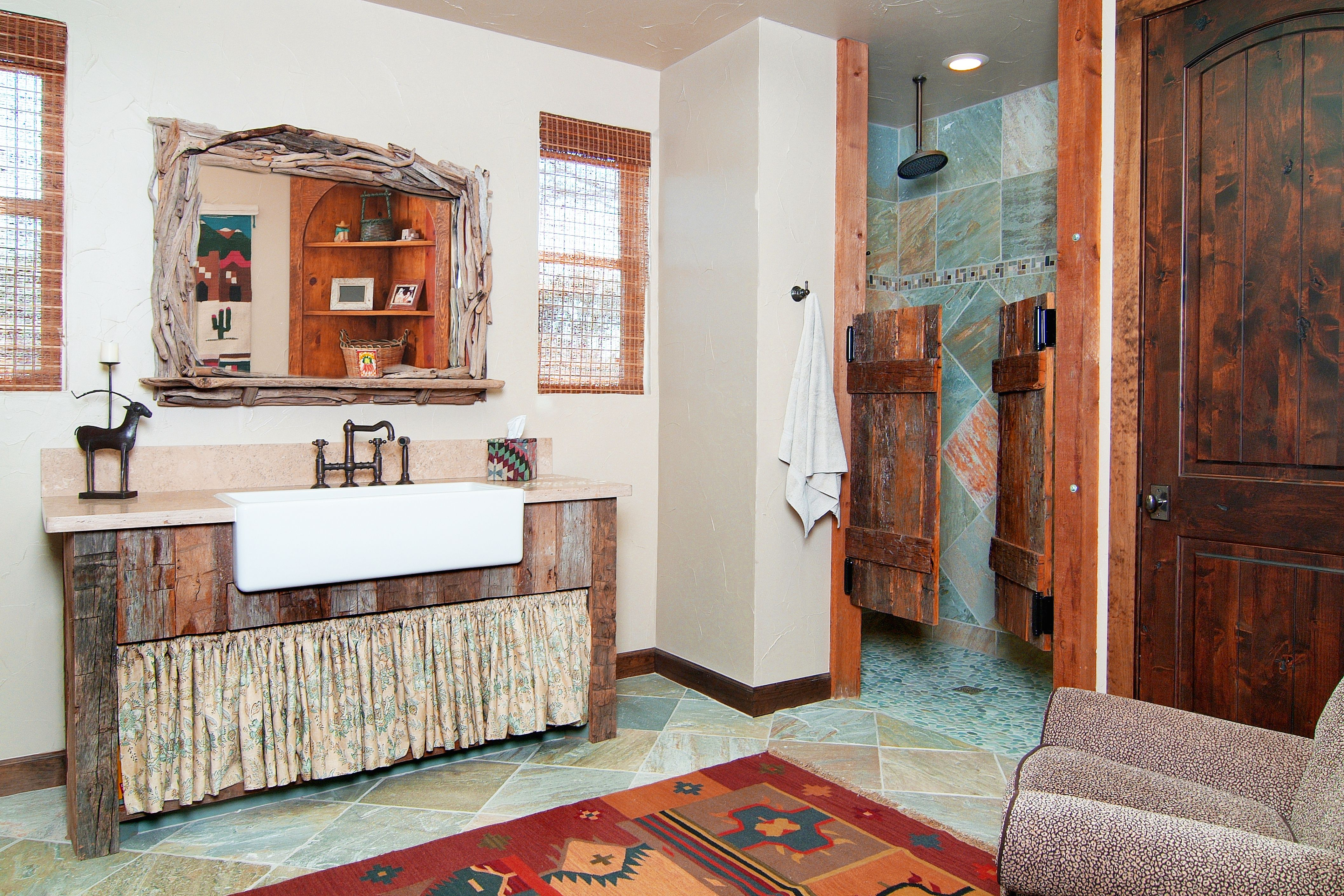 Bathroom Design By Design House   Houston, TX. Rustic Ranch Bathroom With  Blue Slate