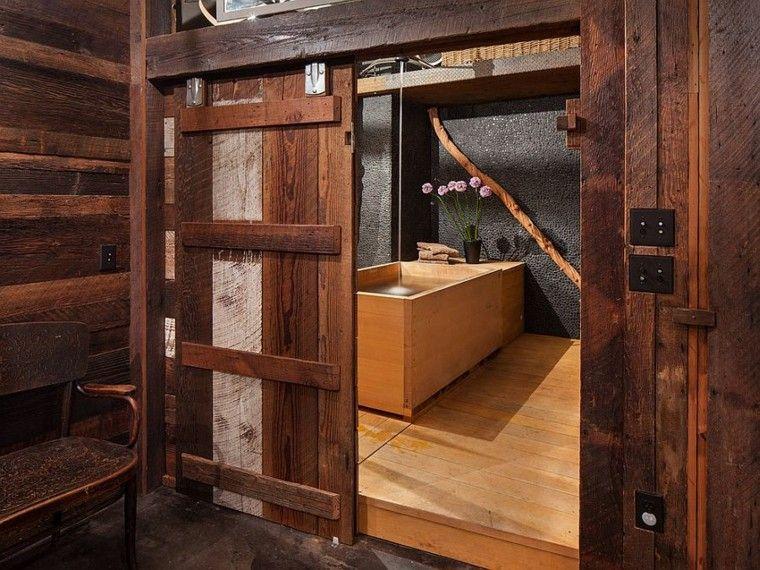 Puertas correderas de madera para el cuarto de baño Puertas