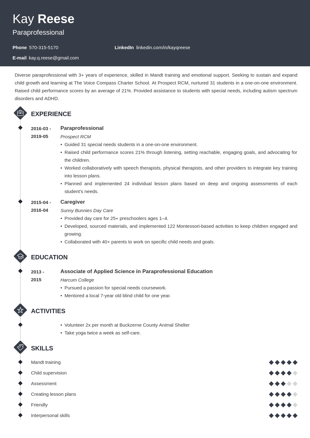 paraprofessional resume example template diamond in 2020