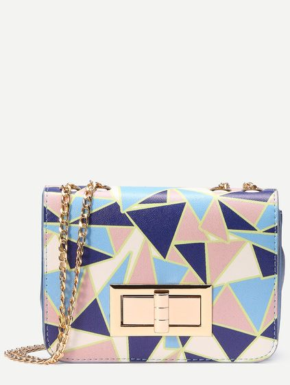 502cf737 Geometric Print Turnlock Crossbody Bag With Chain Strap | Things I ...