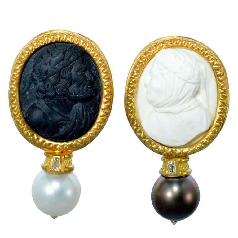 d996ebdb1 Antique Italian Lava Cameo (18th c.) and Tahitian Pearl and Gold Earrings,  Wayne Smith. I don't like cameos, but this is bas relief.