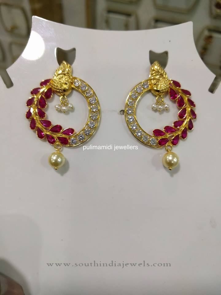 Gold Designer Ruby Earrings Designs With Rubies Indian