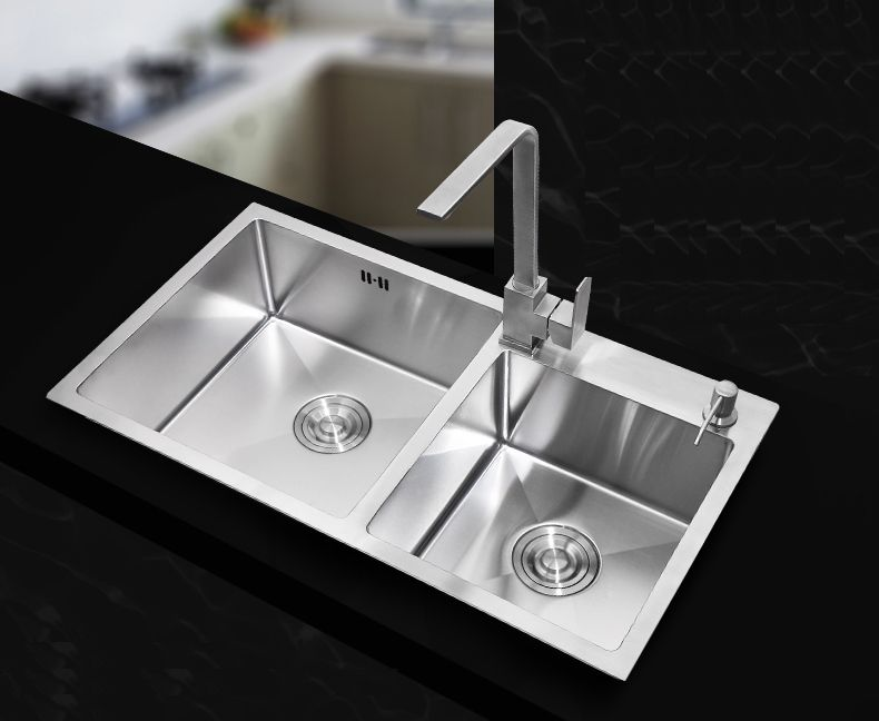 730400220mm Stainless Steel Undermount Kitchen Sinks Sets Double Bowl Drawing Drainer
