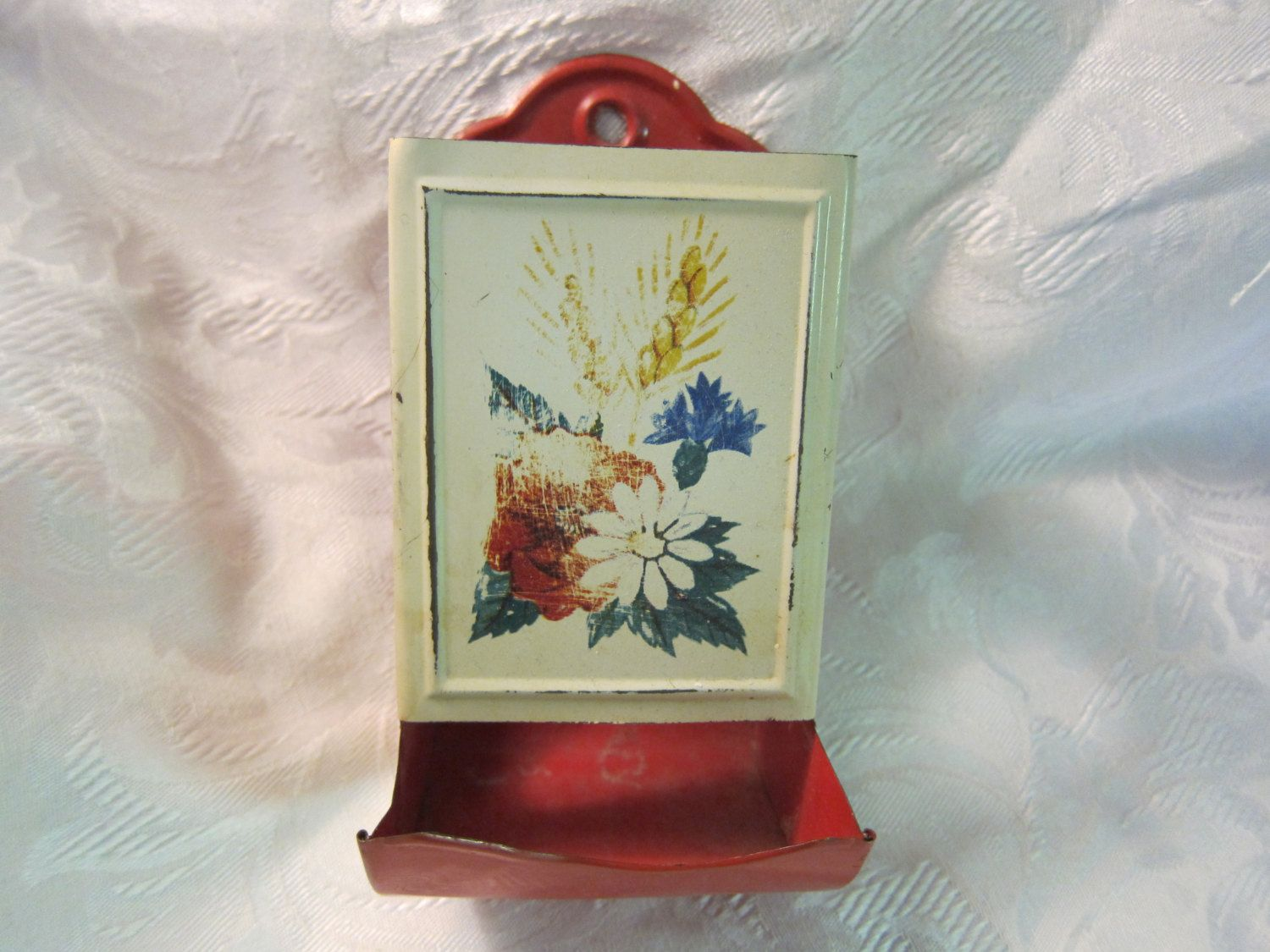 Vintage Tin Kitchen Match Holder, circa 1940s, Red and Cream with Painted Floral, Perfect Condition for UpCycling by www.CherryBlossomSurplus.Etsy.com on Etsy