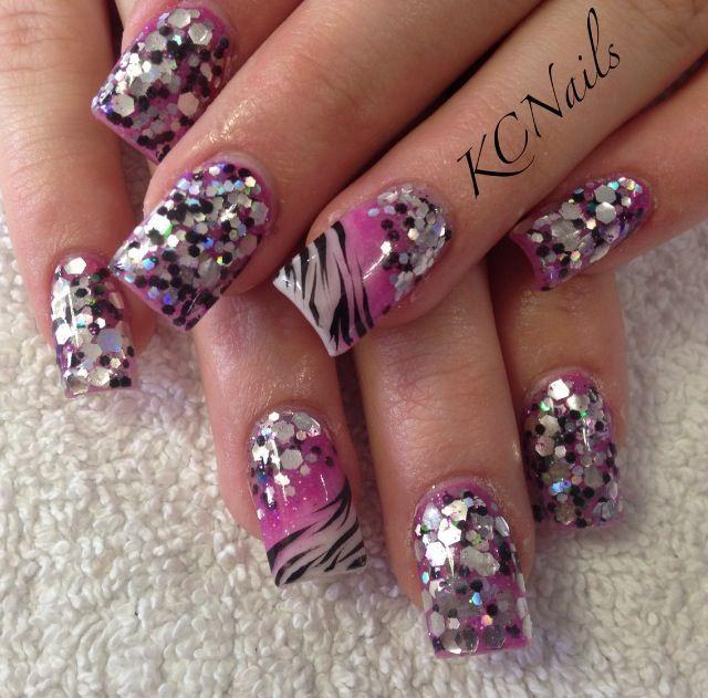 black and silver glitter acrylic nails | Makeup & Nails | Pinterest ...