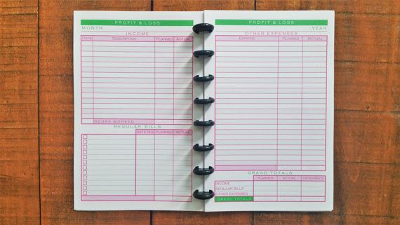 Printed Discbound Budget Tracker Junior Size Pink by JanesAgenda