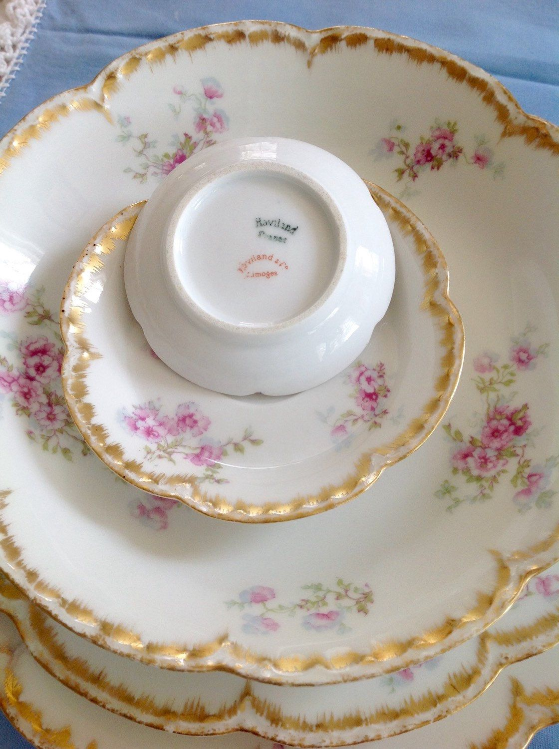 Lovely Antique Haviland Limoges french china set 4 pieces by PucaByElphiena on Etsy