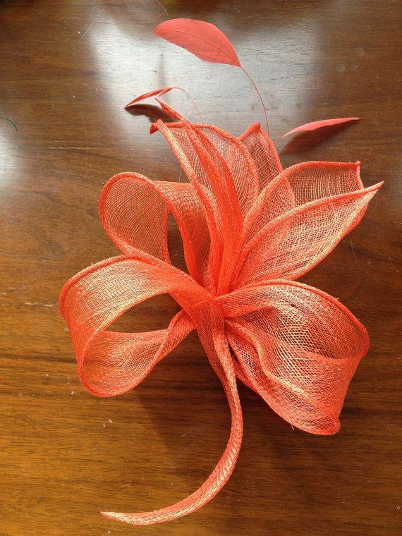 Handmade Orange Sinamay Fascinator by CarolinEmmAccessorie on Etsy