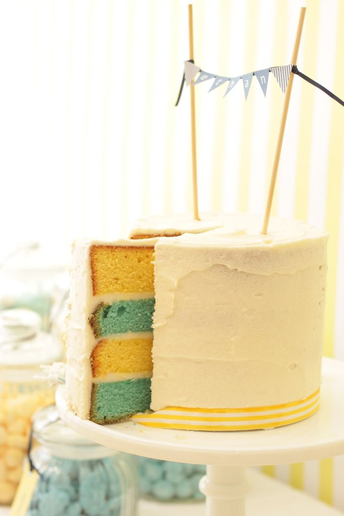yellow and blue layer cake