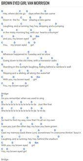 Easy – Brown Eyed Girl at Chordie.com                                           … – Musik-Noten