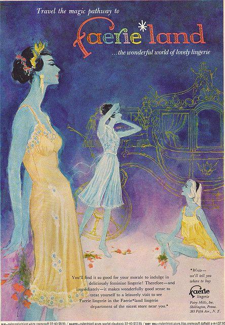 Faerieland lingerie, from Mademoiselle, April 1961. (vintage ad)