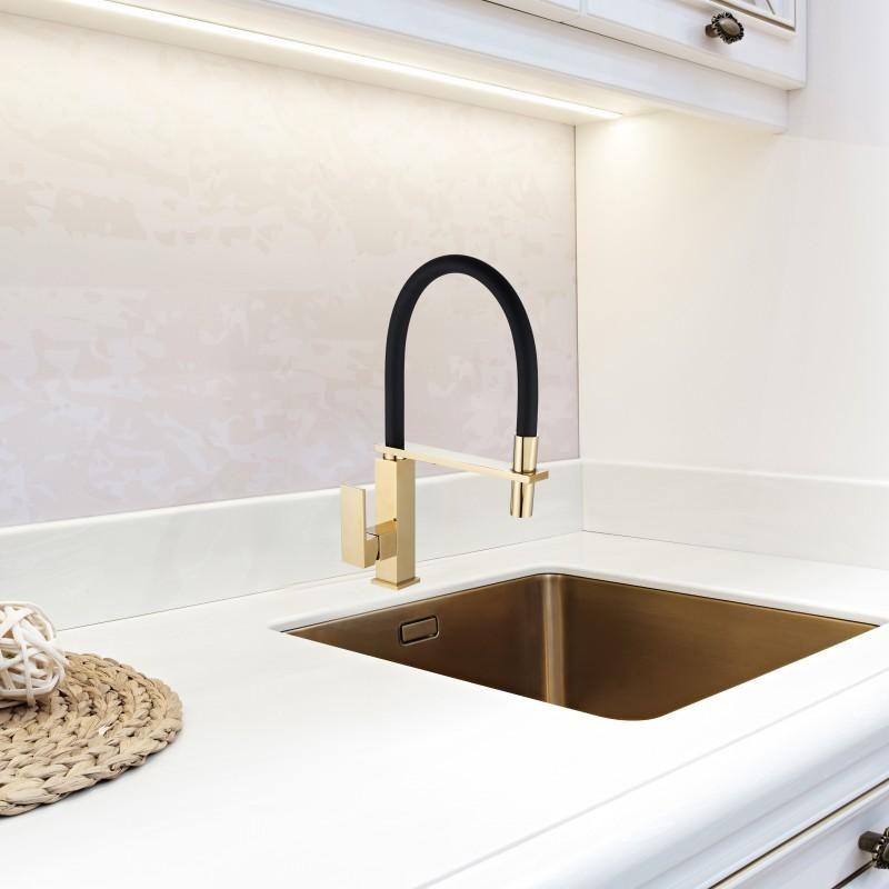 Bateria Zlewozmywakowa Kran Kuchenny Zlewu Kwadrat Zloty Yoka Home Decor Sink Decor