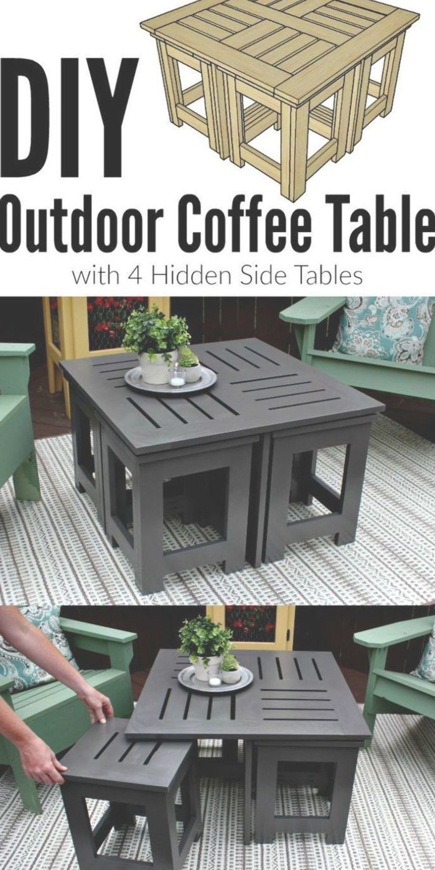 Looking For Ideas For An Easy Diy Outdoor Coffee Table This Plans Shows How To Make A Small Coffe Diy Outdoor Furniture Outdoor Coffee Tables Diy Coffee Table [ 1710 x 855 Pixel ]