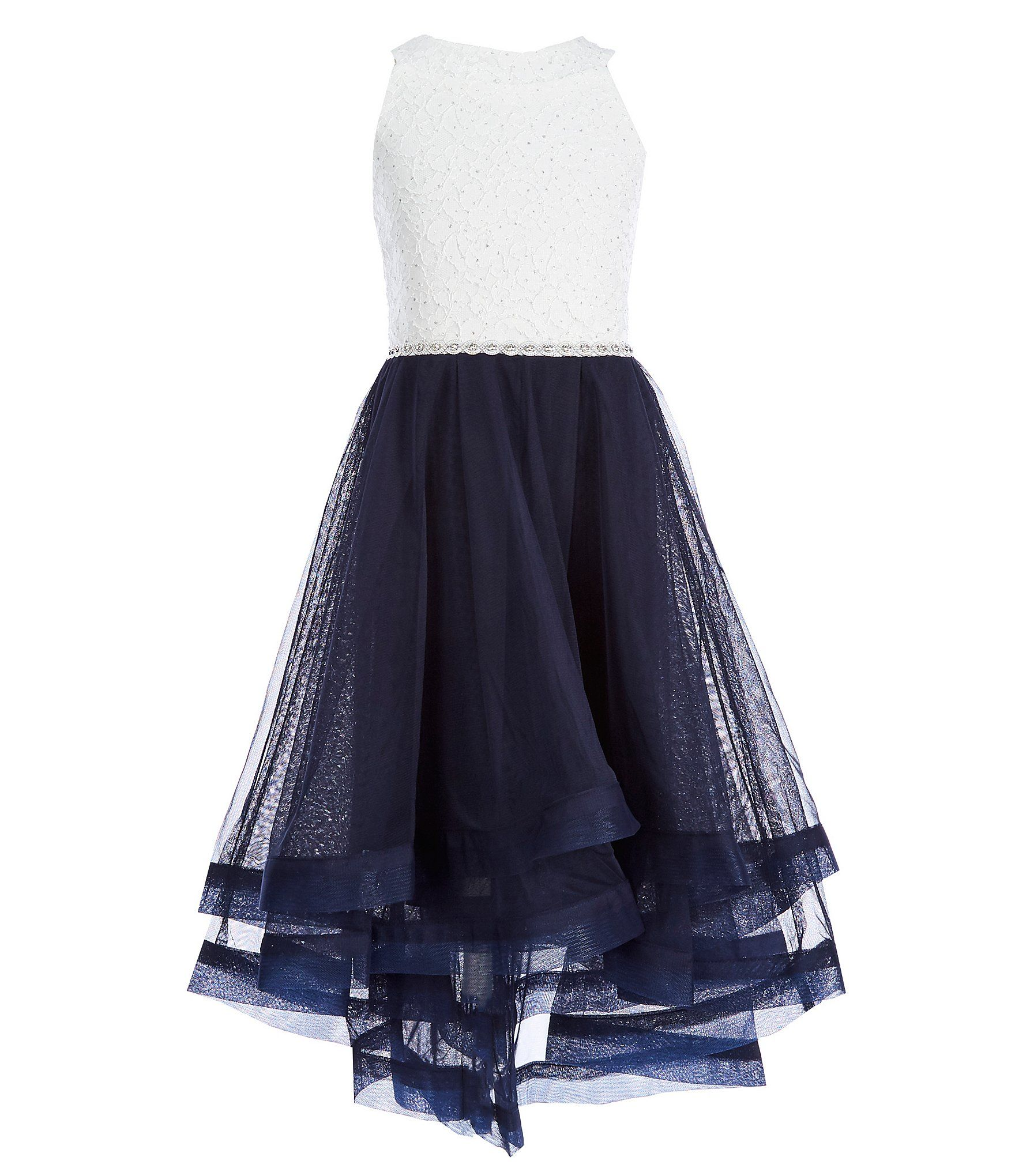 Xtraordinary big girls embellishedwaist horsehairhem dress