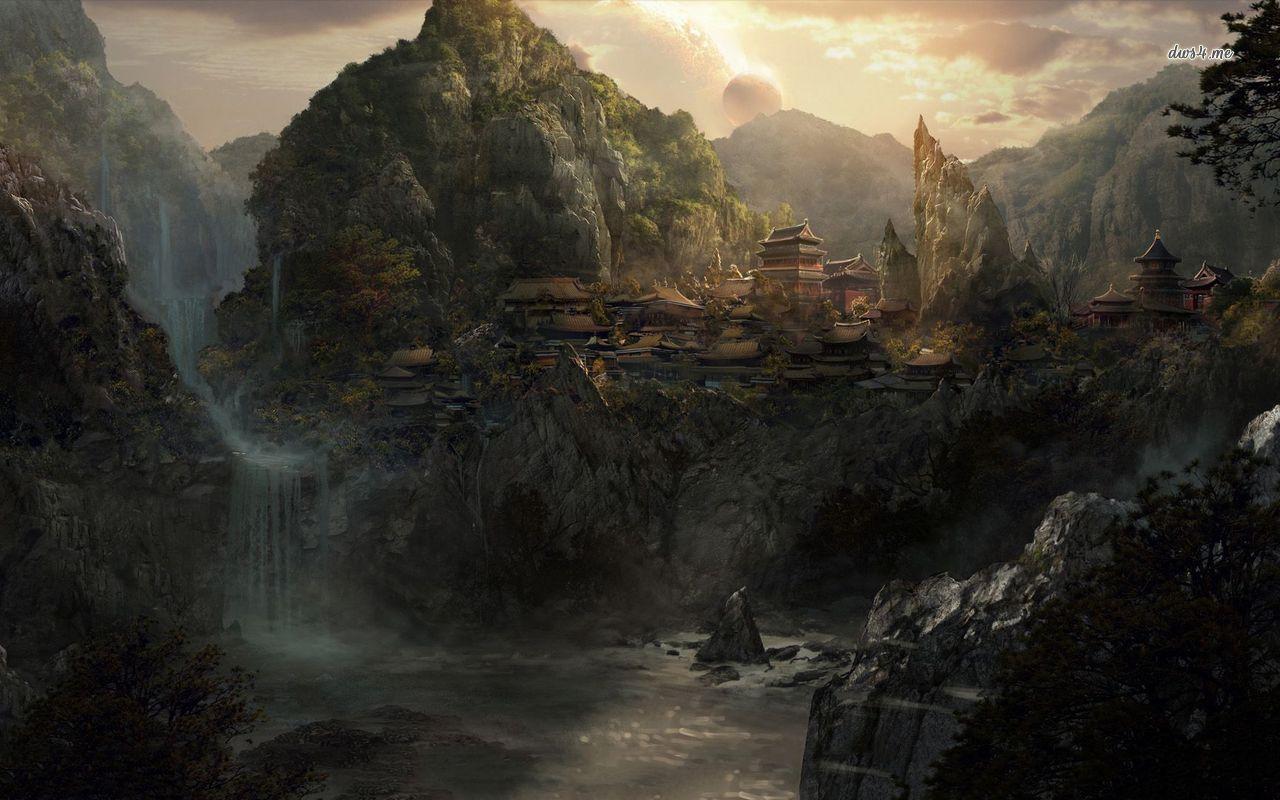 fantasy villages | more fantasy mountain river village ...