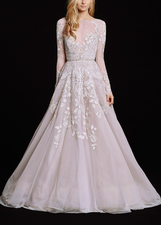 Hayleyu embellished english net u tulle long sleeve ballgown cas