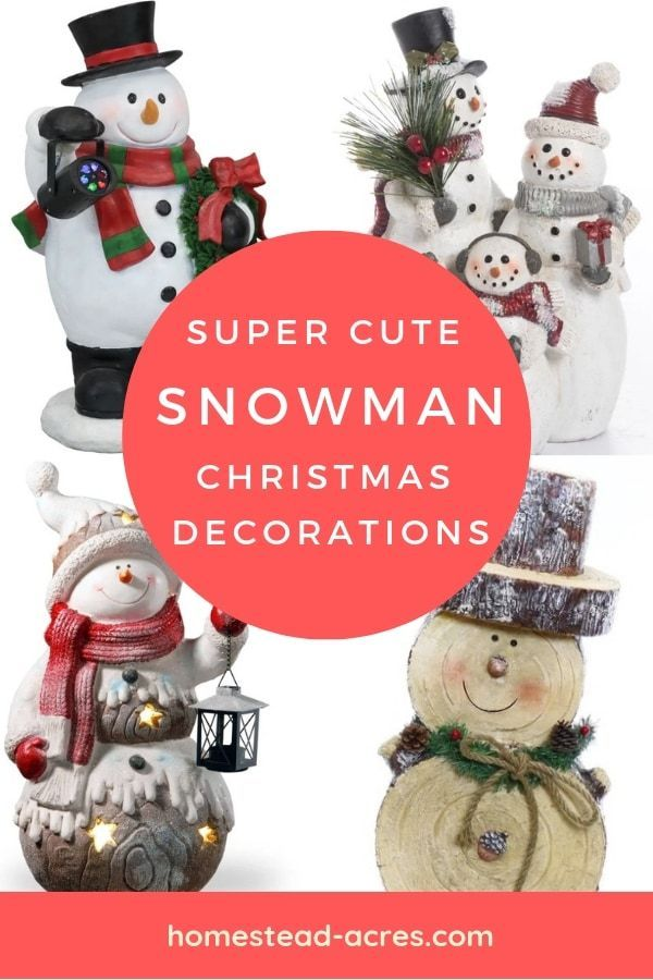 You will love these adorable snowman Christmas decorations! Perfect for holiday mantle displays, table centre pieces, all through the winter season that makes them budget friendly too! #christmasdecor #christmasornaments #christmasdecorationideas #homesteadacres