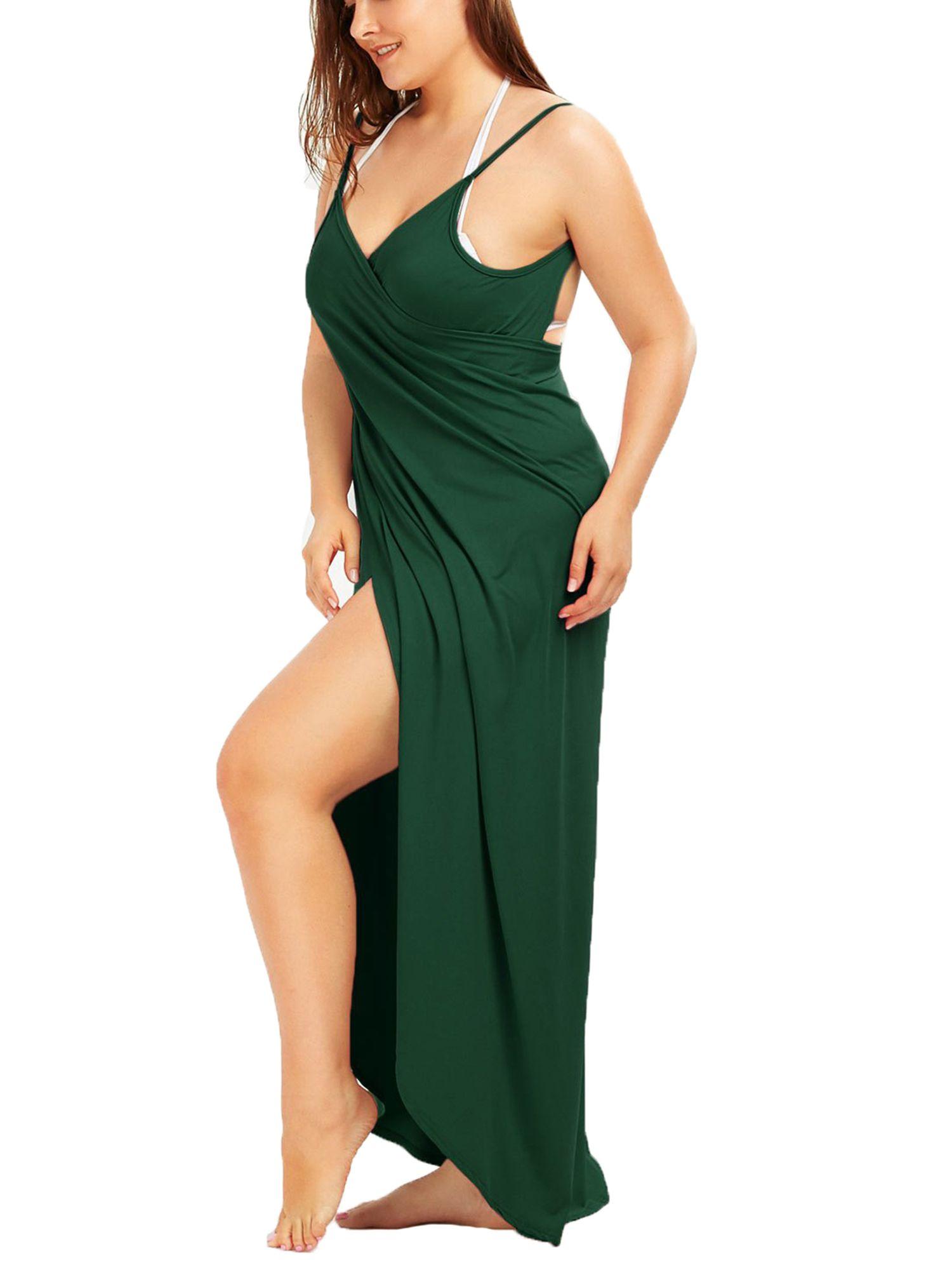 f77317ffe36 SAYFUT Juniors Swimwear Cover-ups Plus Size Spaghetti Strap Maxi Backless  Beach Dress Cover Up Bikini Wrap Long ups