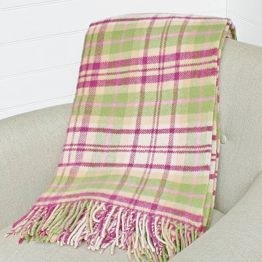 Cottage Pink And Green Check Wool Throw By Marquis Dawe Notonthehighstreet Com