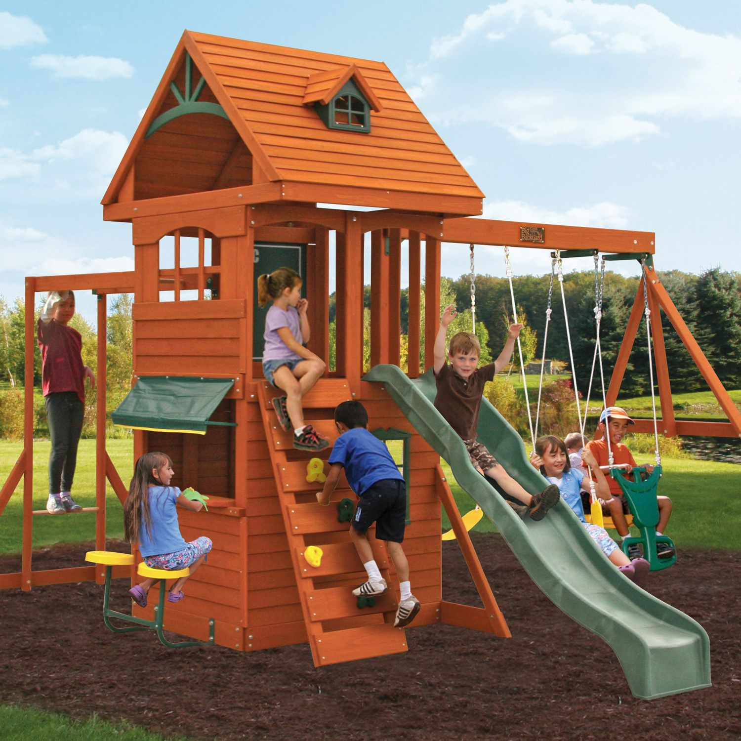 Ridgeview Deluxe Clubhouse Wooden Swing Set Backyard
