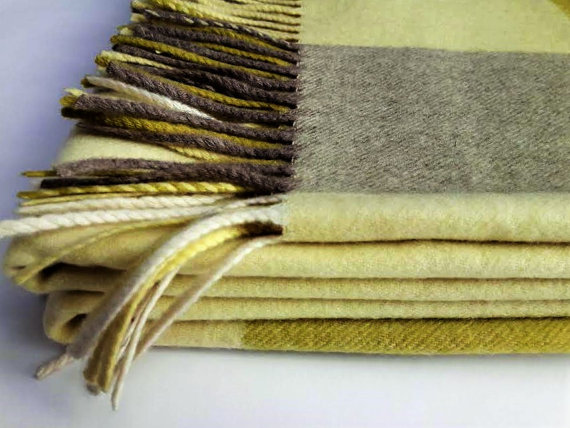 Cashmere Blanket Pure Cashmere Wrap Blanket 40% Cashmere Throw Stunning Citron Throw Blanket