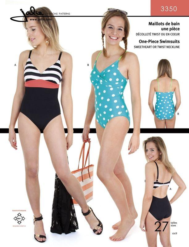 englisches Schnittmuster Jalie 3350 Badeanzug Mädchen 2-13 (92-155 ...
