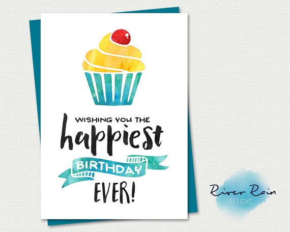 Printable Birthday Card Wishing you the happiest birthday EVER – Download Printable Birthday Cards