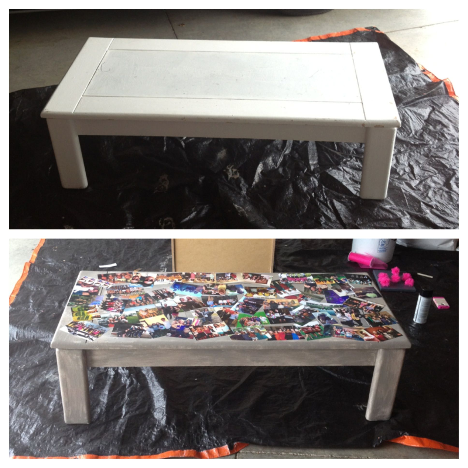 Coffee table picture collage Printed out friend photos then put