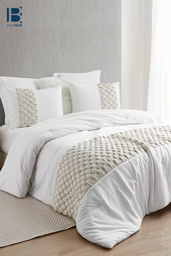 Easy To Match Oversized King Comforter With Super Soft Cotton And Thick Inner Fill And Stylish Knit Detailing King Comforter Oversized King Comforter Cream Comforter