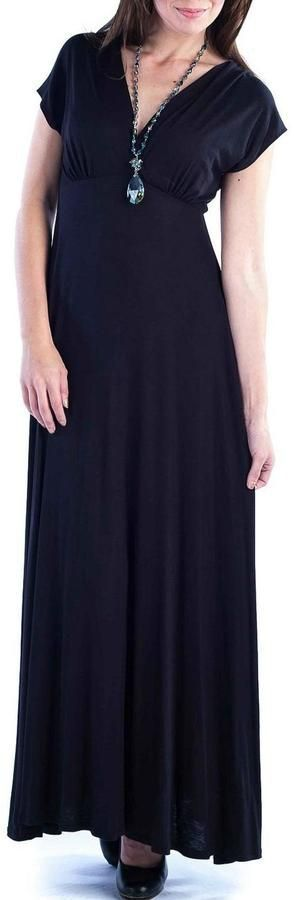 24/7 Comfort Apparel Faux-Wrapped Cap-Sleeve Maxi