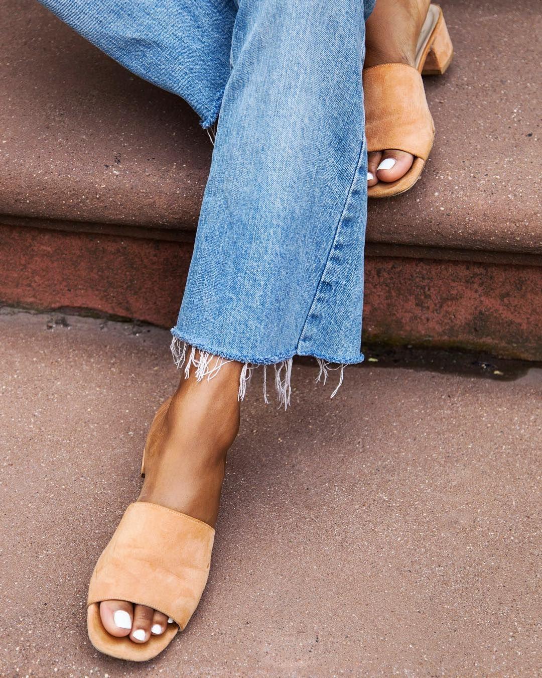 """4266c5632 """" Suede slide  sandals were a summer hit"""