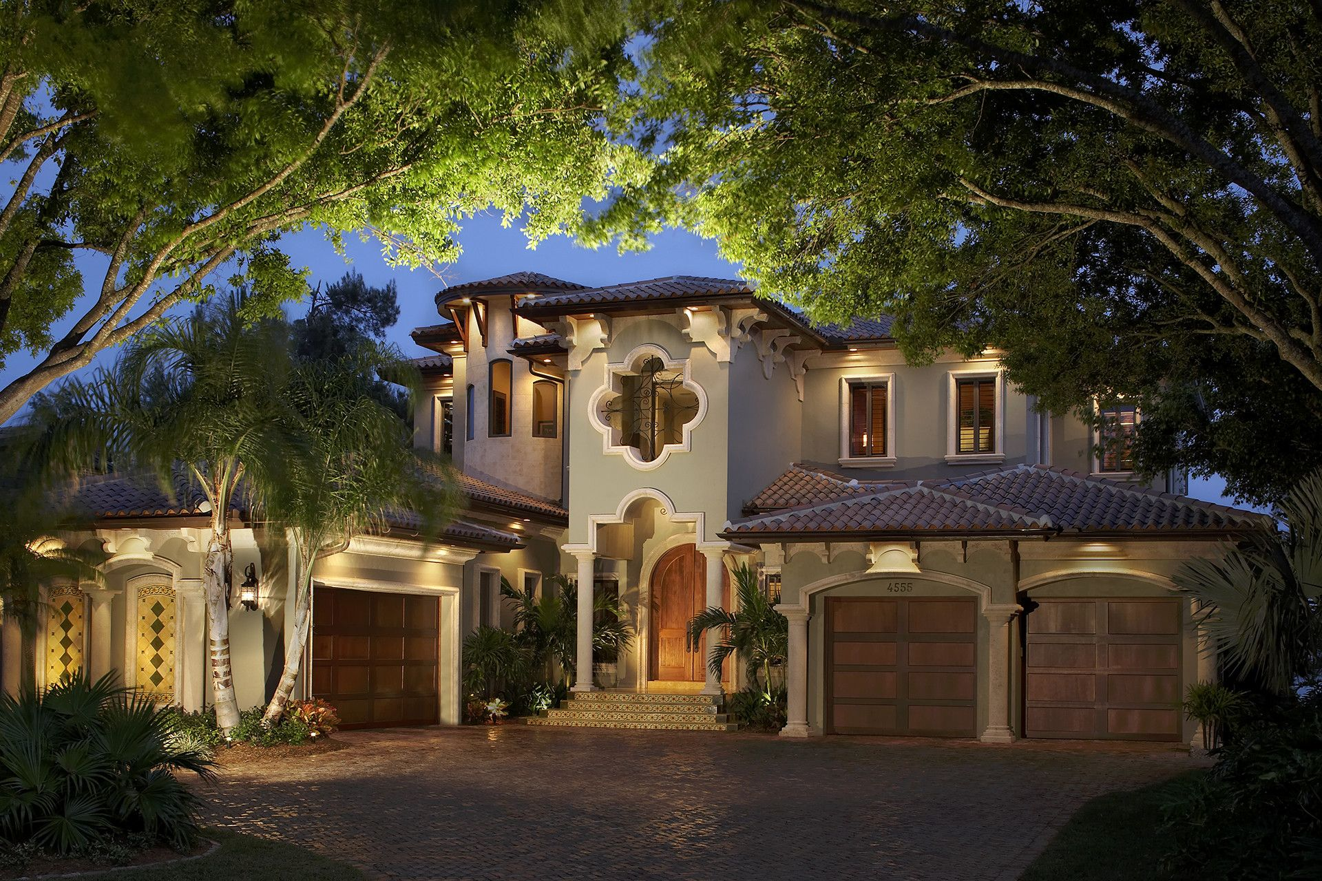 Mediterranean Style Home By Design Styles Architecture   Front Elevation  With Decorative Trim And Brackets
