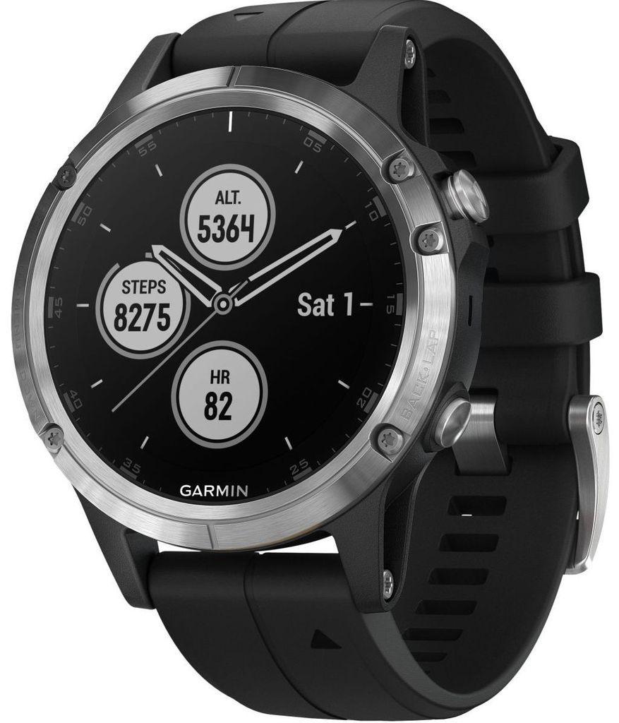 Garmin Watch Fenix 5 Plus Silver Black Band garmin watch
