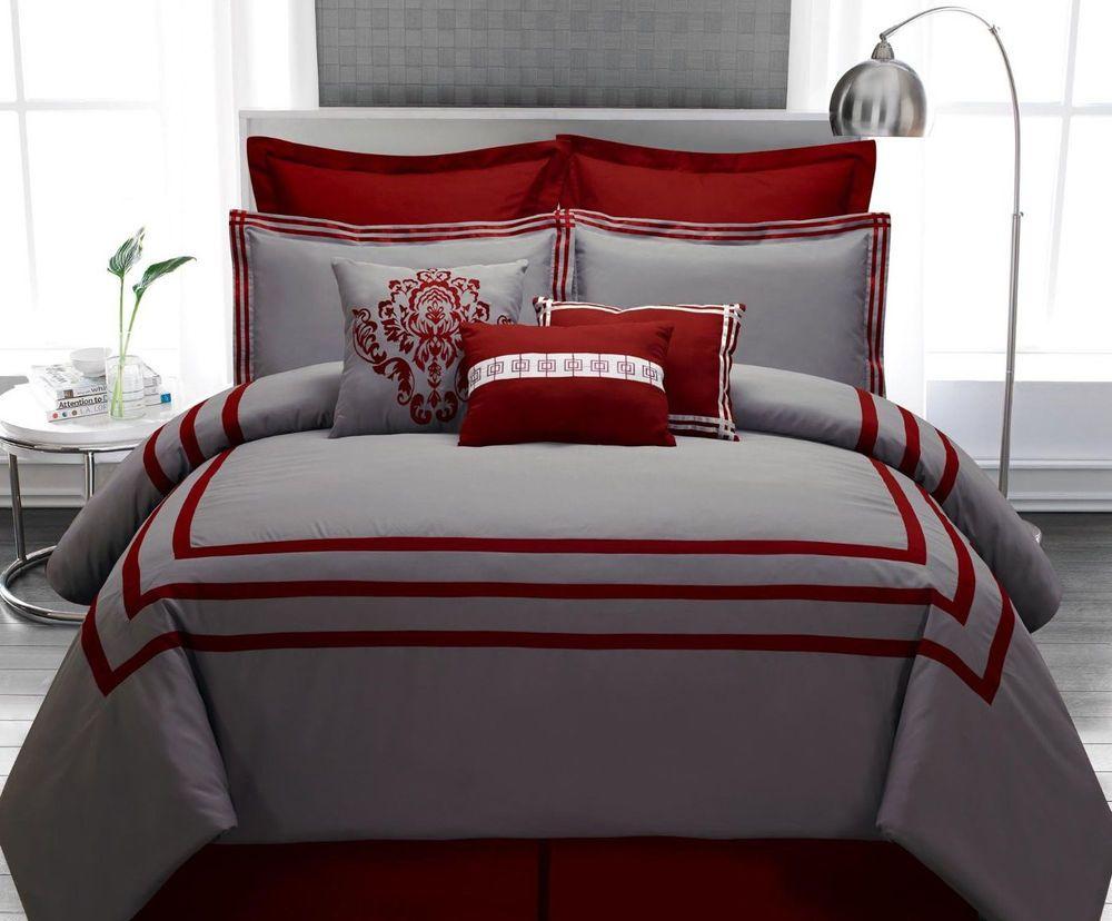 Comforter Set Queen 9PC Burgundy Gray Stripe Hotel Modern Pillows Bedding  Shams. Comforter Set Queen 9PC Burgundy Gray Stripe Hotel Modern Pillows