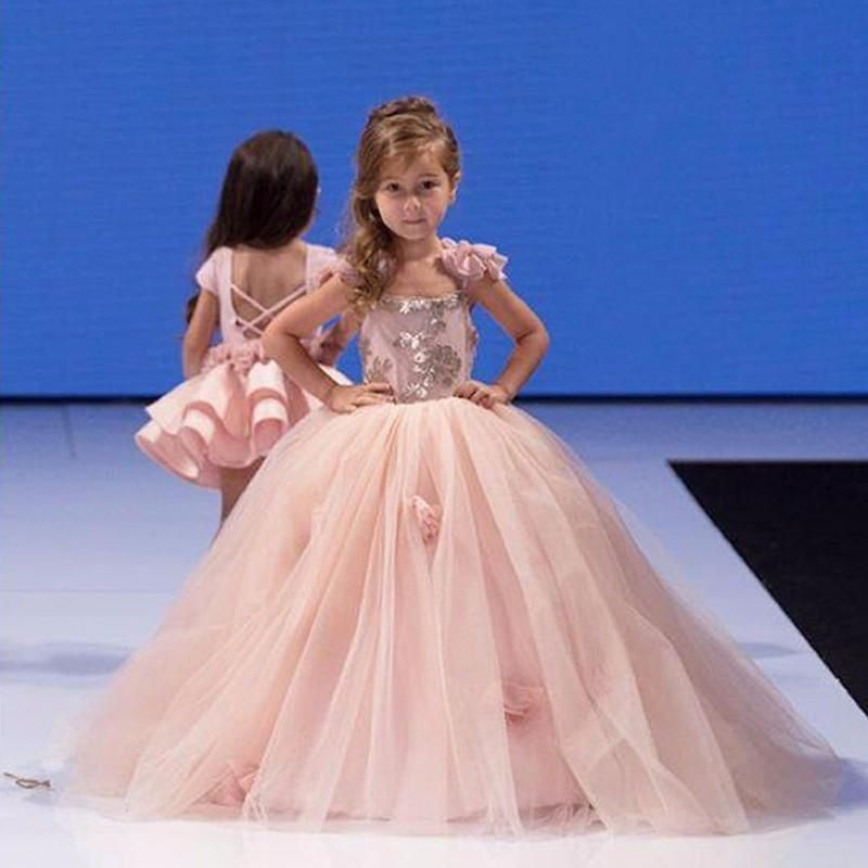 2016 Exquisite Flower Girl Dresses 2016 Appliques Tulle Kids Prom Gown