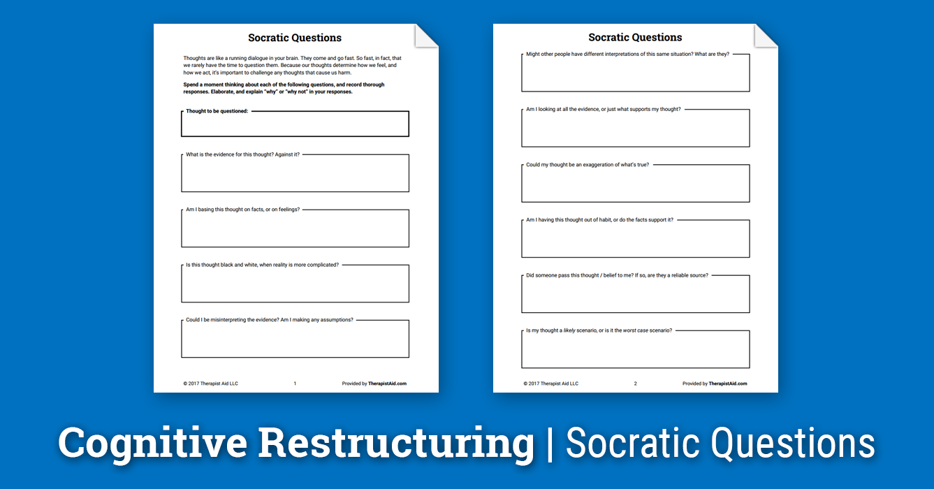Worksheets Cognitive Restructuring Worksheet cognitive restructuring socratic questions worksheet psychology the term refers to process of challenging and changing irrational thoughts questioning