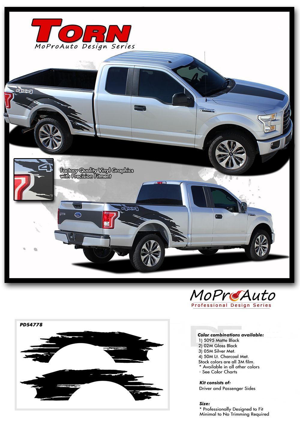 Torn Ford F 150 Decals Side Truck Bed 4x4 Mudslinger