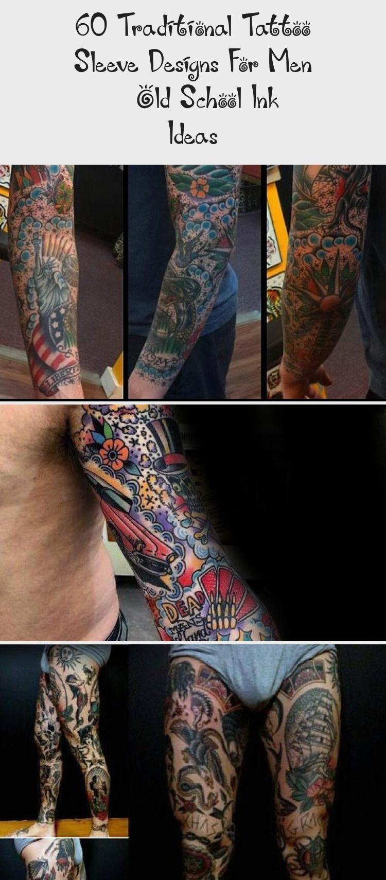 60 Traditional Tattoo Sleeve Designs For Men – Old School Ink Ideas - Tattoo - Mens Black