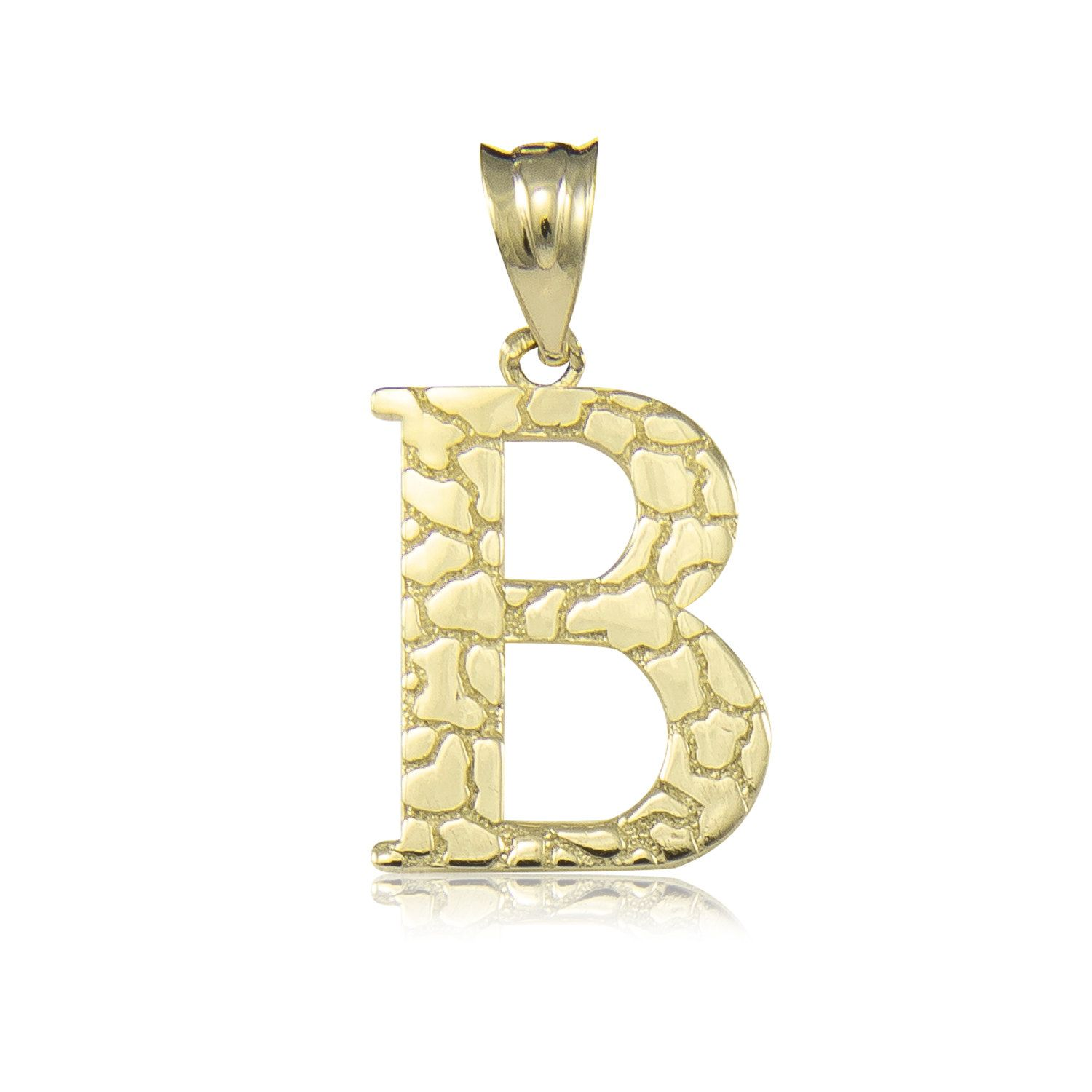 10k Solid Yellow Gold Nugget Initial Letter Pendant Description Material Genuine 10k Solid Yellow Gold Letter Pendants Gold Nugget Custom Initial Jewelry