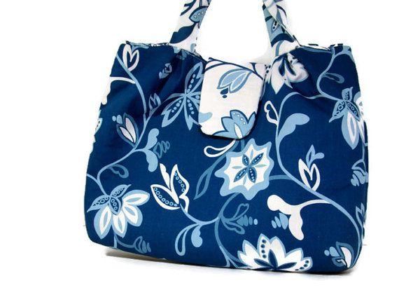 00cb66d95 Dark Blue Light Blue White Floral Print Tote by DebbiesDesigns3, $28.00