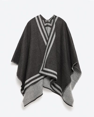 REVERSIBLE STRIPED PONCHO from Zara