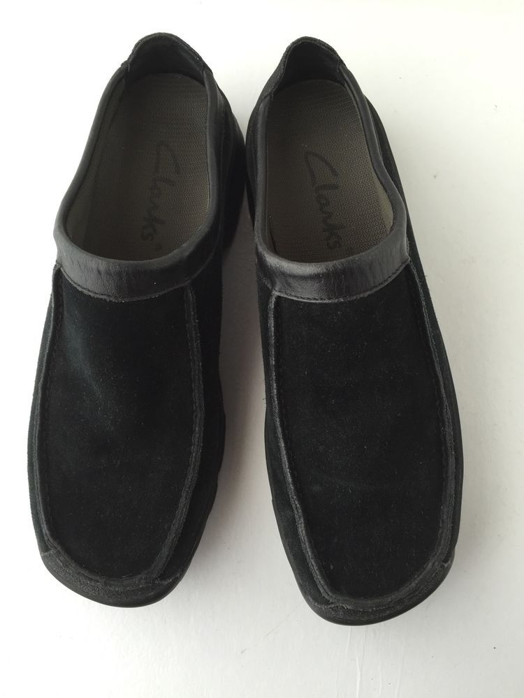 Clarks Shoes Clogs Leather Suede SlipOn Loafer Moccasin Mules Comfort Black  8.5