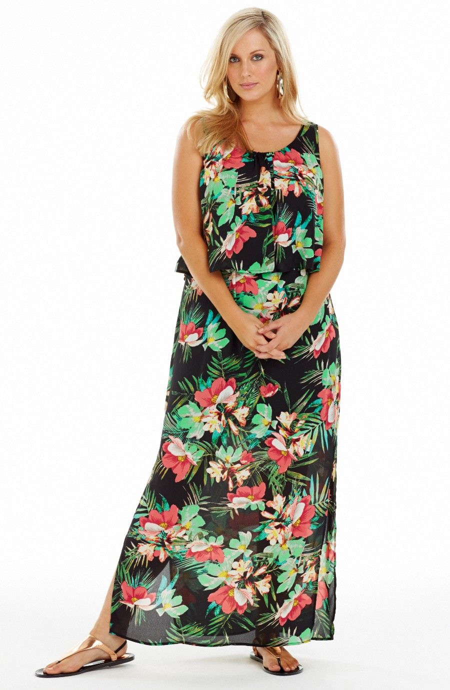 0ddd996691325 Bodice Overlay Maxi Dress   Tropical Style No: D2196 Printed Georgette maxi  Dress. This Summery tropical print maxi has a a flowy overlayer on the  upper ...