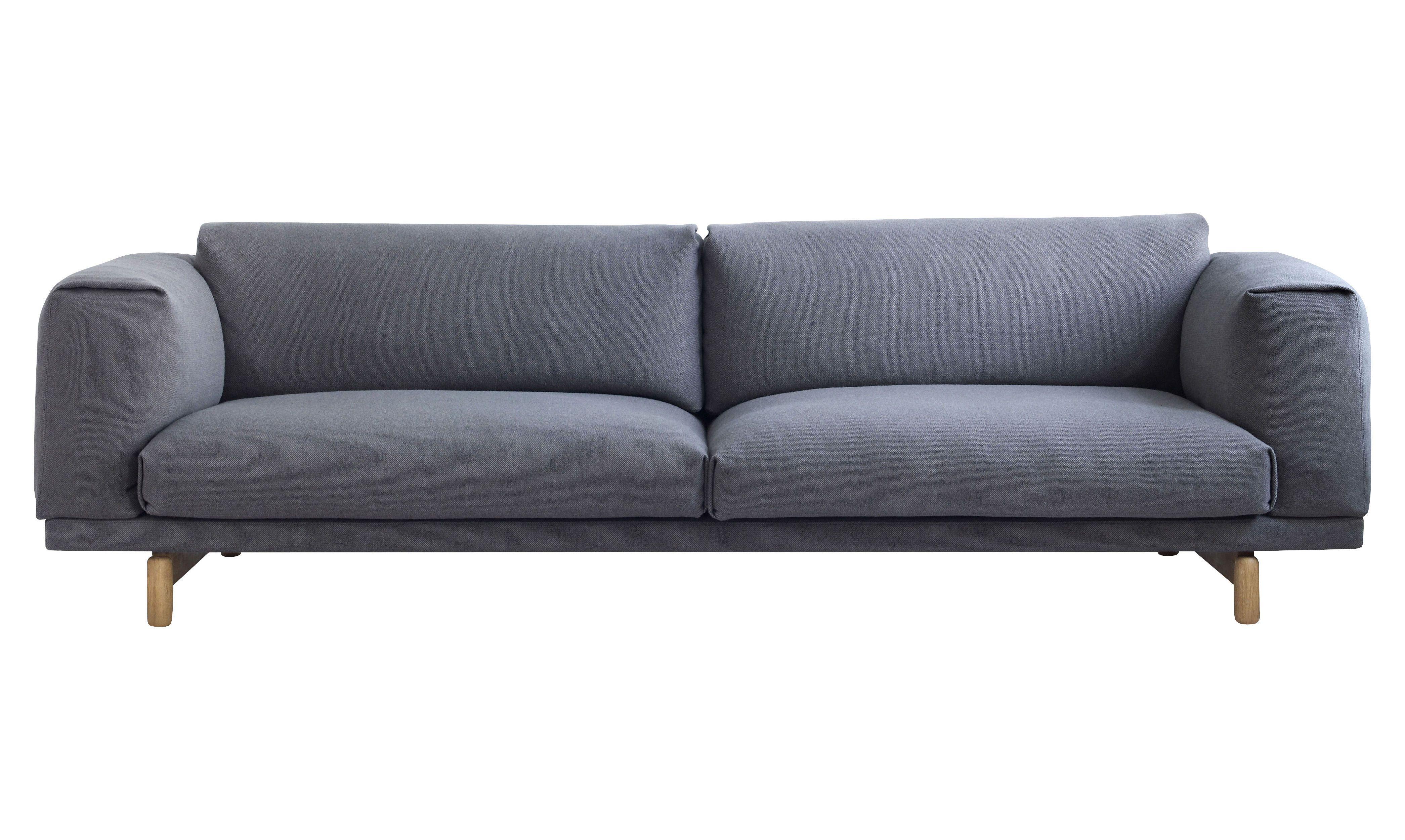 Canapé Rest / 3 places - L 260 cm Gris - Tissu Hallingdal - Muuto