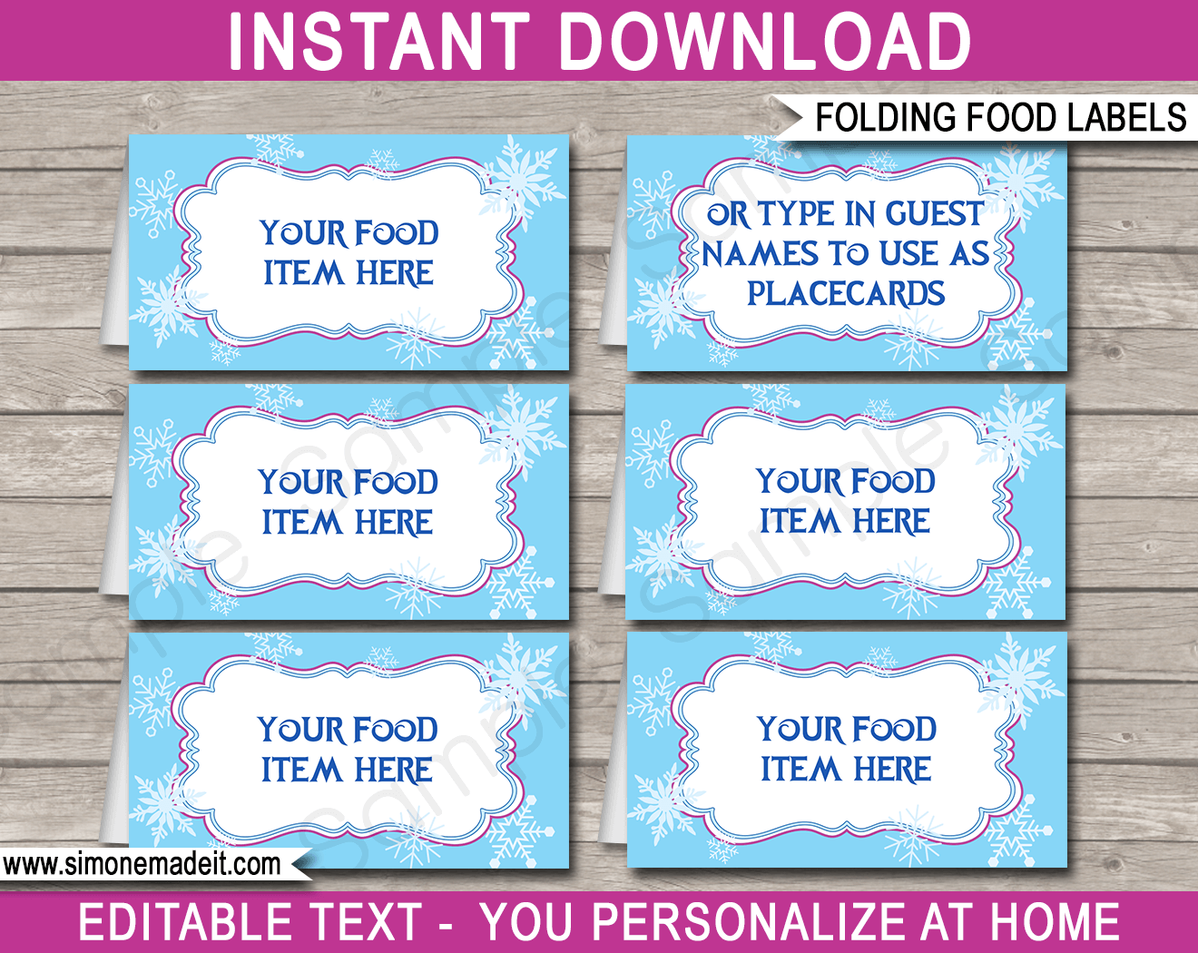 Frozen Party Food Labels Template Party Food Labels