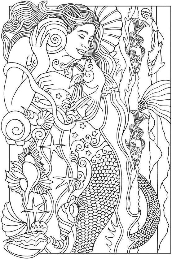Realistic Mermaid Illustrations Coloring Books   Mermaid ...