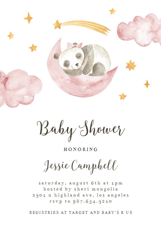 Sleeping Sloth And Panda Baby Shower Invitation Template Greetings Island Panda Baby Shower Invitations Panda Baby Showers Printable Baby Shower Invitations